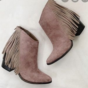 Light Tan Fringe Heeled Fall Short Boots